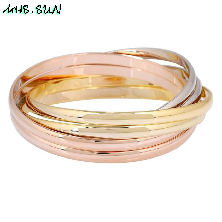 30-0ashion Six-Layers Women Contracted Bangles Bracelets European Style Girls Ladies Bangles All-Match Jewelry Fadeless