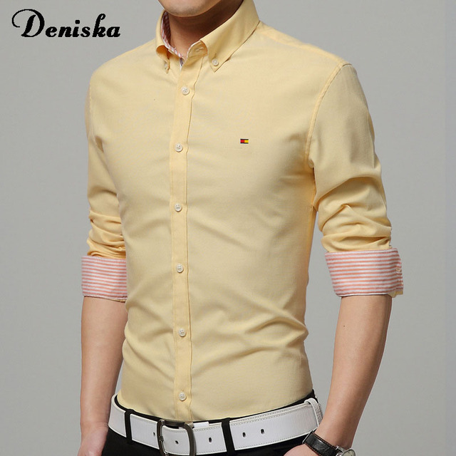 2016 men's long-sleeved shirt Slim shirt Slim M-5XL multicolor Spring and Autumn iron wrinkle shirt lapel solid color printing