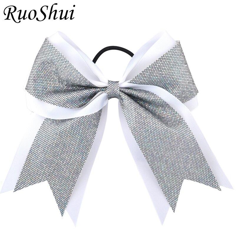 7 Inch Girls Large Cheerleading Hair Bow Glitter Powder Grosgrain Ribbon Elastic Hair Bands Ponytail Women Hair Bows   Headwear
