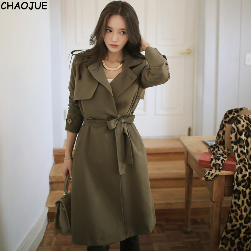 CHAOJUE Brand NEW Loose trench coat female 2018 casual long sleeve cotton army green outwear womens black long coats for gifts