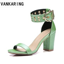 VANKARING women sandals shoes fashion PU leather high heels open toe platform sandals ladies grace dress sheos casual sandals