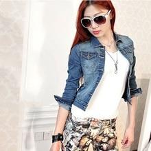 Vintage Women Long Sleeve Coat Slim Denim Short Casual Jean Jacket Outerwear