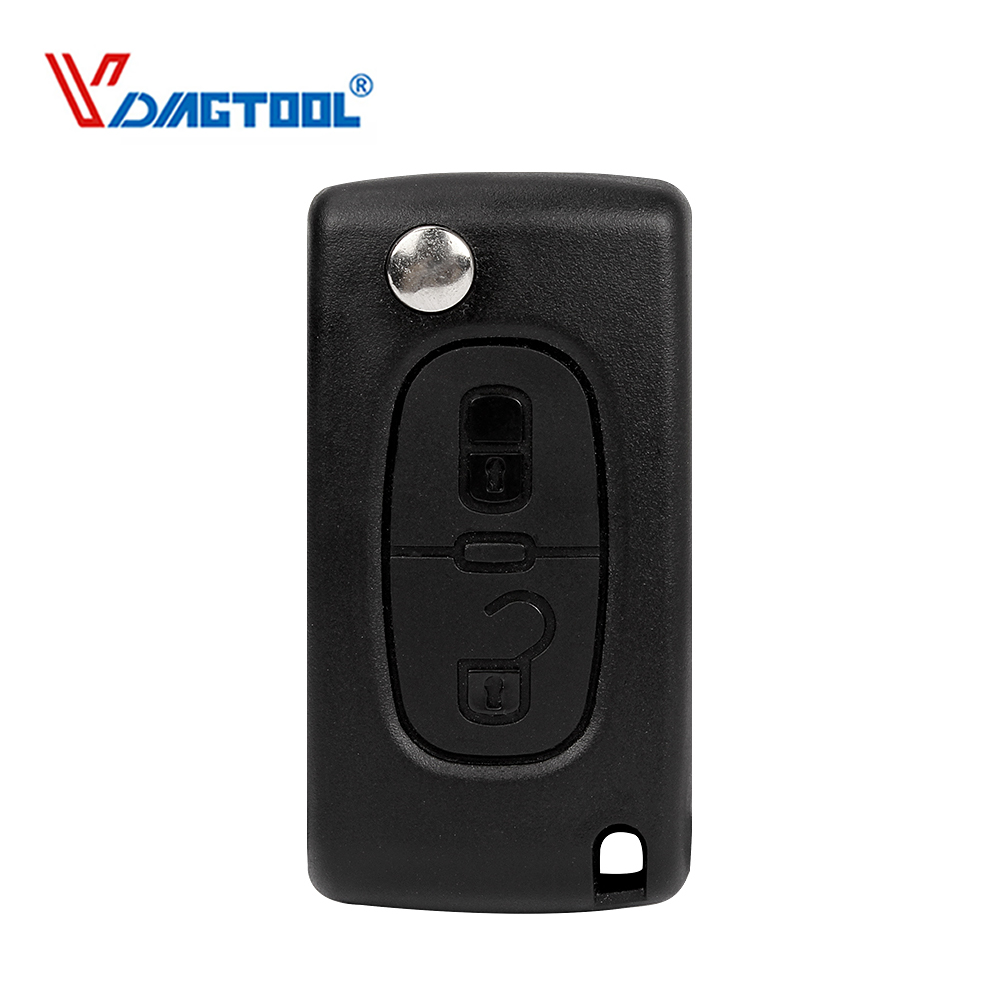VDIAGTOOL Flip 2 Buttons 407 Remote Car Key Shell For Peugeot Key Blank Case Fob No Battery Place With Groove Blade(CE0523) image