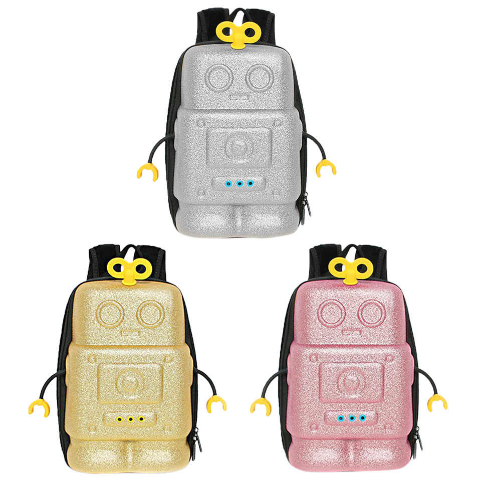 INT'G 3D Robot Children's Backpack Boys Doll Bag Child Cartoon Kindergarten  Bag Waterproof Girl