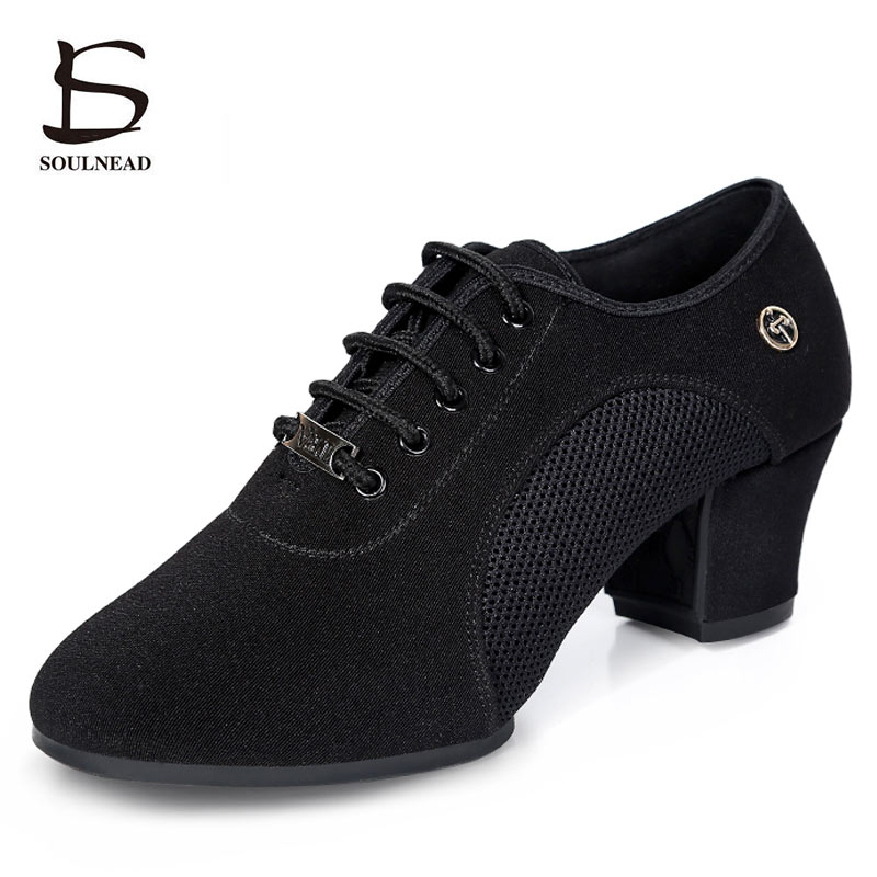 Image 2 - Breath Cloth Fabric Latin Salsa Dance Shoes For Women Middle Heels Ballroom Dance Shoes Ladies Black Non slip Modern Dance Shoes-in Dance shoes from Sports & Entertainment on AliExpress