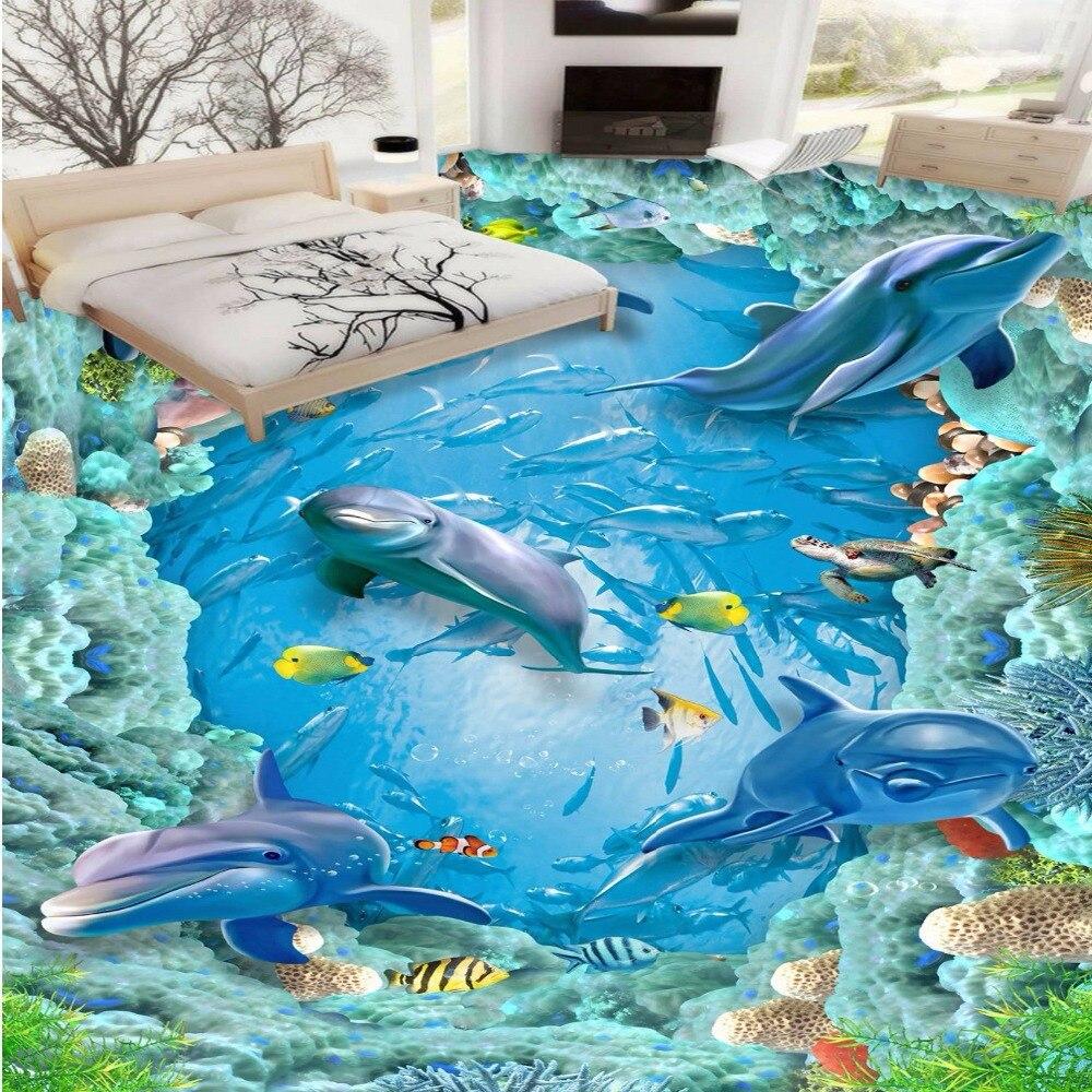 ФОТО Free Shipping custom 3D Dolphin underwater world floor mural study office supermarket floor wallpaper mural