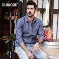 Simwood 2017 nueva primavera verano de rayas camisas casuales hombres 100% puro algodón de manga larga slim fit cs1576