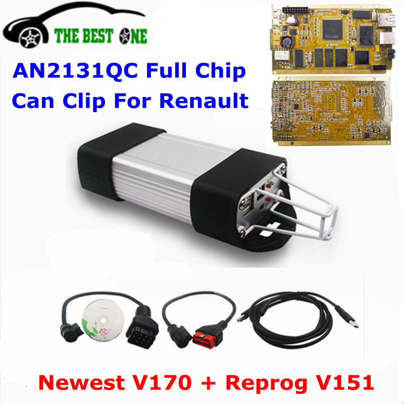 2017 Newest V170 For Renault Can Clip Full Chip Gold CYPRESS AN2131QC With NECOMRON Relay OBD2 Interface Diagnostic Scanner