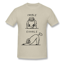 2018 New Funny Inhale Exhale Sloth Men T Shirts 100% Cotton White Custom Chest Print Design T-shirts Free Shipping