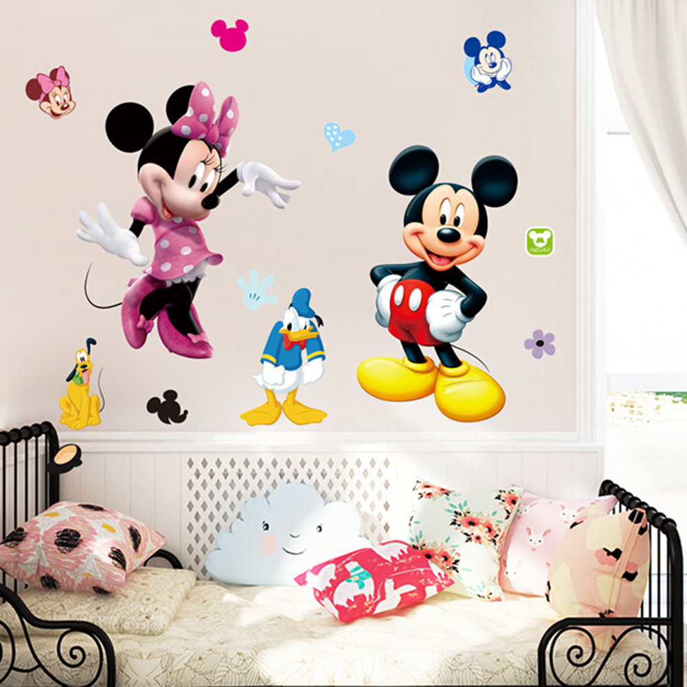 3D mickey mouse stickers for kids room wall decor removable wall decals for  baby bedroom wallpaper