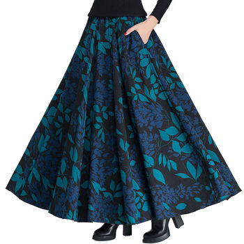 Vintage Wool Skirts Womens High Waist Jupe Printing Maxi Long Skirt Faldas Mujer Autumn Winter Woolen Pleated Skirt Saia C3850 Юбка