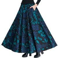 Vintage Wool Skirts Womens High Waist Jupe Printing Maxi Long Skirt Faldas Mujer Autumn Winter Woolen Pleated Skirt Saia C3850