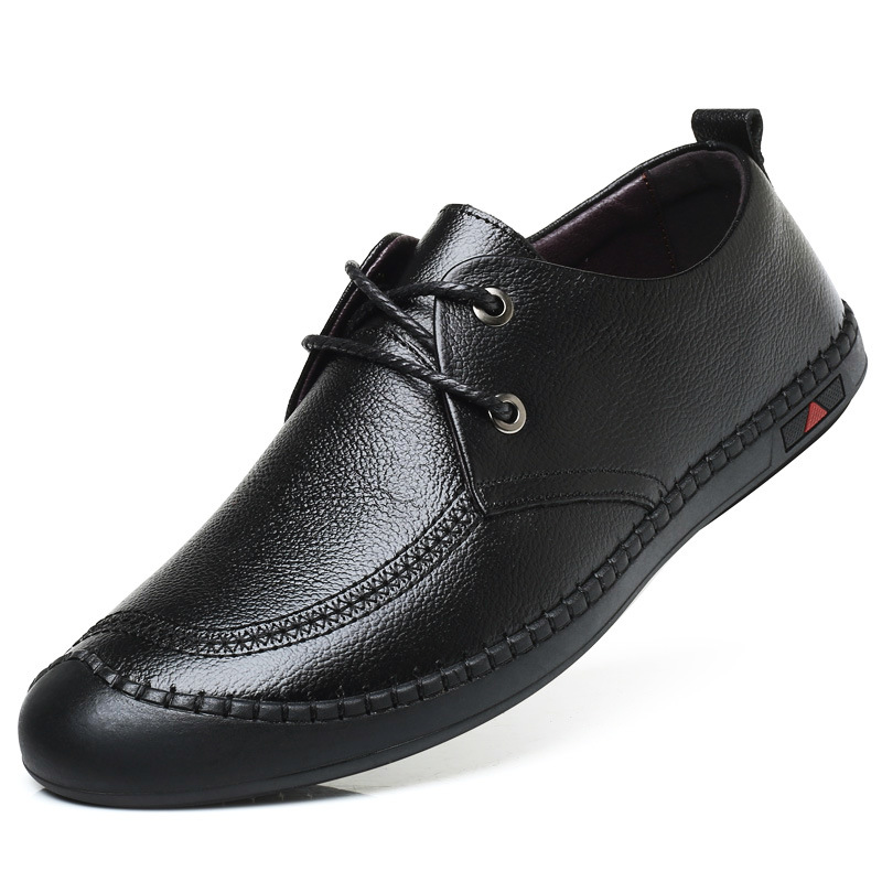 2019 Factory direct exquisite fashion sewing thread decoration mens leather shoes casual soft bottom lace men