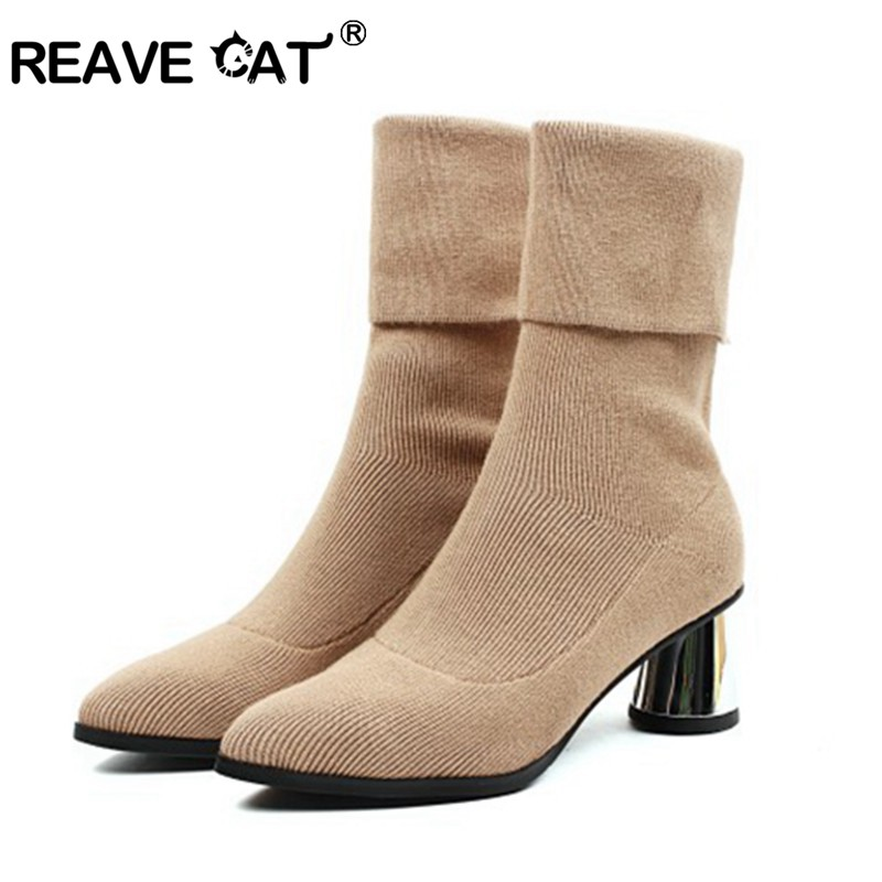 REAVE CAT Women sretched boots Comfortable winter spring Mid calf boots Appointment women sock booties Wool