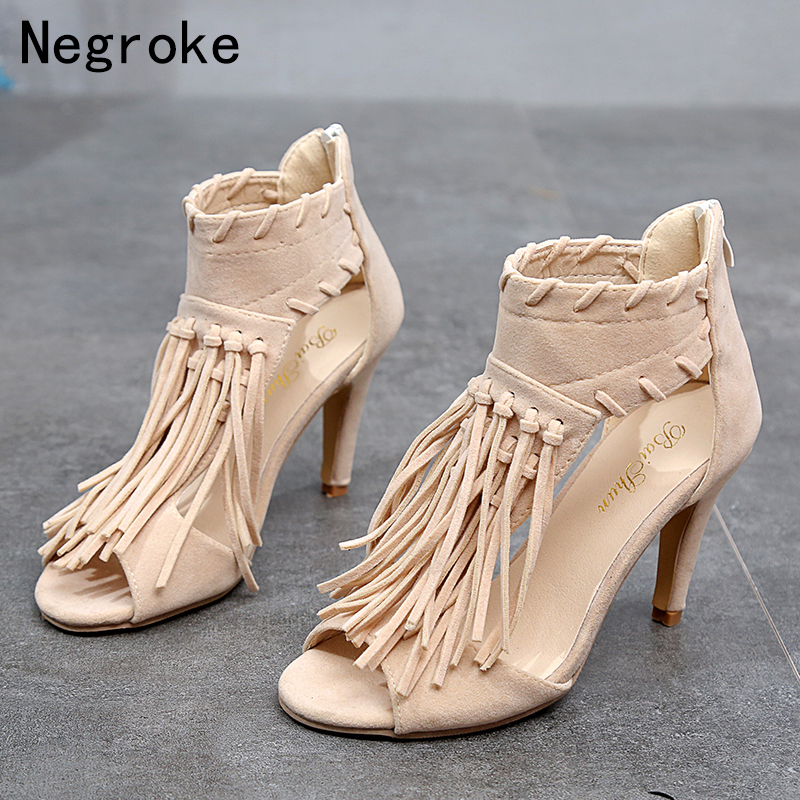 2019 Summer Gladiator Sandals Women Thin High Heels Sexy Tassels Romanesque Shoes Woman Open Toe Sandalias Mujer Plus Size 35-432019 Summer Gladiator Sandals Women Thin High Heels Sexy Tassels Romanesque Shoes Woman Open Toe Sandalias Mujer Plus Size 35-43
