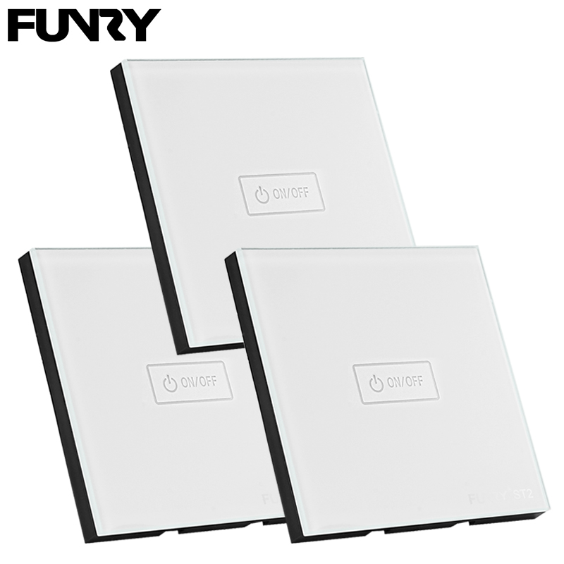 3 pcs 1Gang EU Standard Funry Smart Switch Wall Light Touch Switch Remote Control/Touch 170-240V Waterproof Surface Glass Panel smart home eu touch switch wireless remote control wall touch switch 3 gang 1 way white crystal glass panel waterproof power