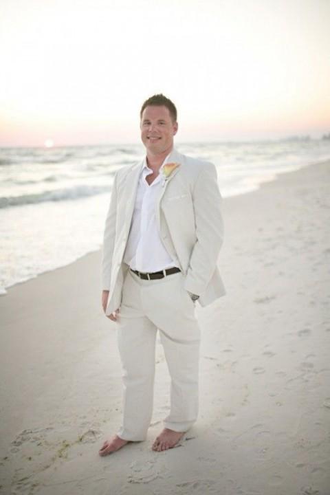 2016 Summer Beach Wedding Linen Men Suits Slim Fit Best