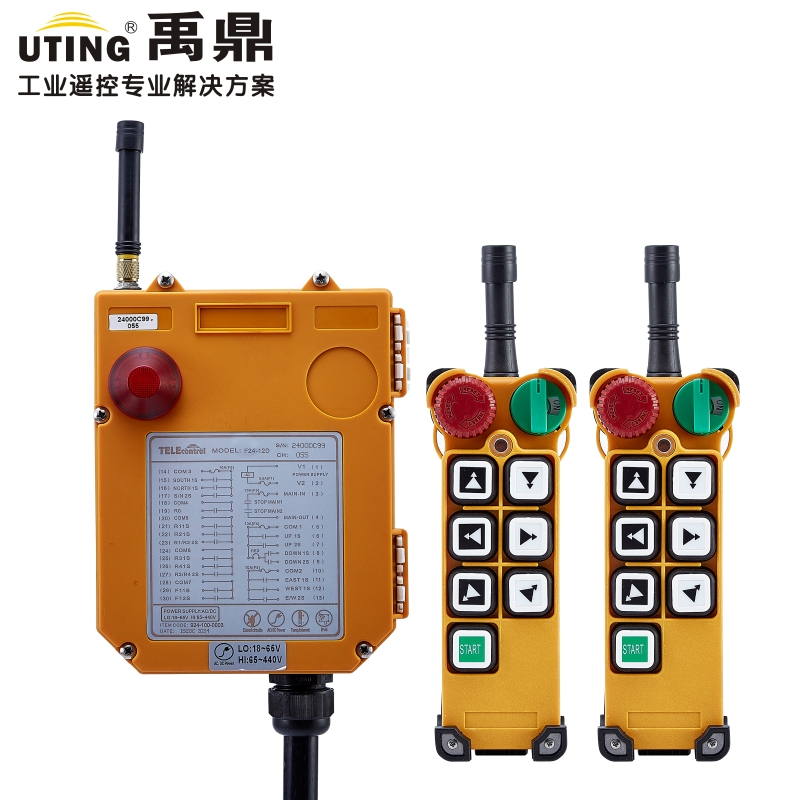 AC DC Wireless Crane Remote Control F24 6D Industrial Remote Control Hoist Crane Push Button Switch 2 Transmitters + 1 Receiver