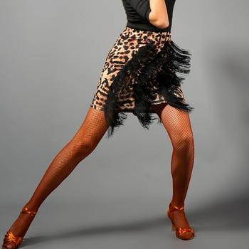 Latin Dance Skirt Tassel Fringe Leopard Skirts Women Salsa Cha Dancing Clothing  Performance Practice Dance Wear Ladies DNV10862