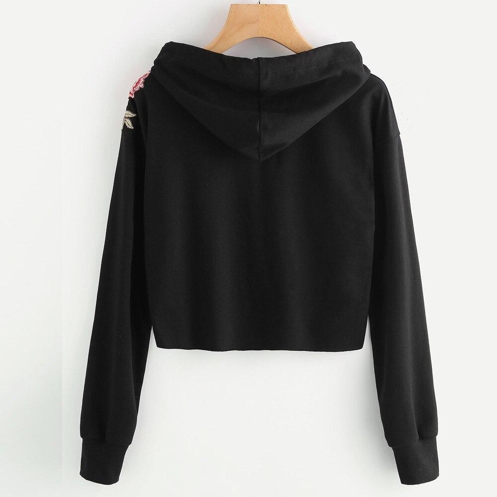 HTB1xvQFSFXXXXc6XFXXq6xXFXXXQ - Women Hoodie Crop Sweatshirt Jumper Crop Top Embroidery Pullover Black Cotton PTC 285