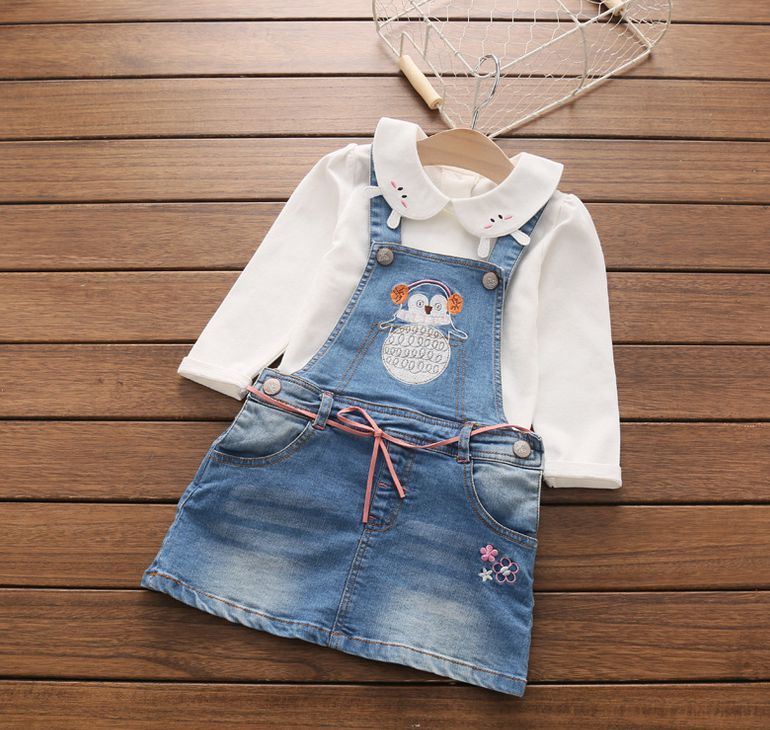 2017 New Arrival Girls Denim Sundress Girls Character-embroidery Sundress Kids Suspender Denim dress Child High Quality Sundress 2017 new arrival baby girls denim sundress girls fashion sundress kids suspender denim dress child casual sundress