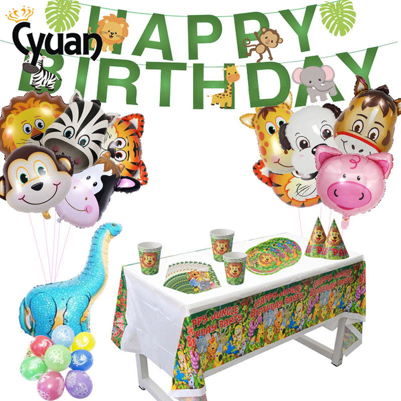 Jungle Safari Party Animal Balloons Paper Tableware Banner Bunting Jungle Party Paper Banner Kids 1st Birthday Decorations