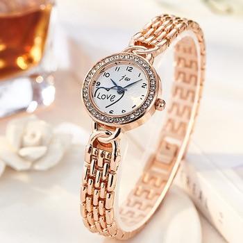 JW Brand Fashion Watches Bracelet Diamond Alloy Wristwatches Women Dress Luxury Gift Gold Silver Quartz Watch