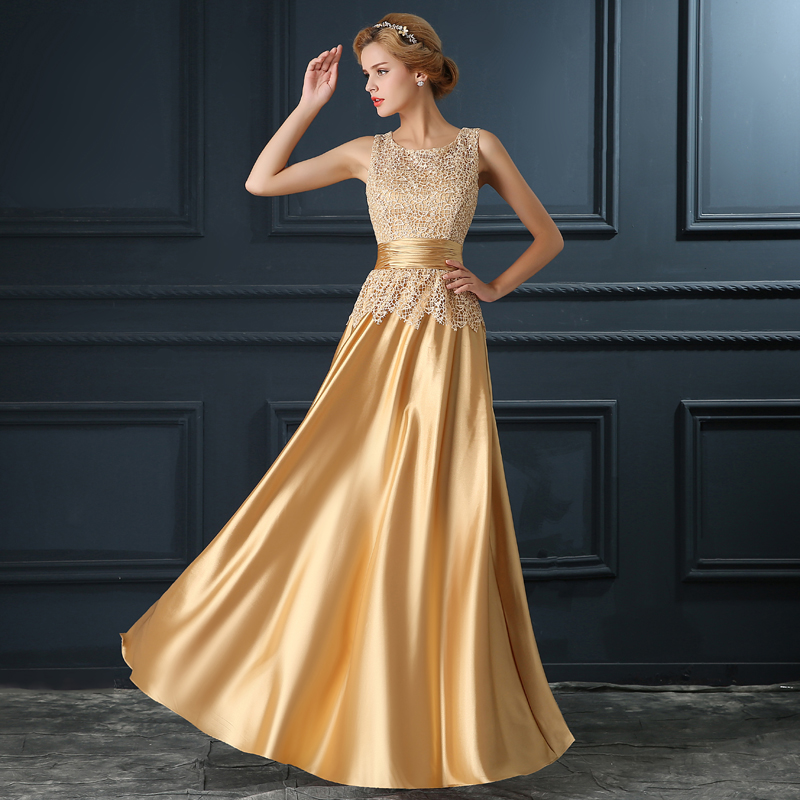 2017 Elegant Long Off Shoulder Golden Gold Lace Stain