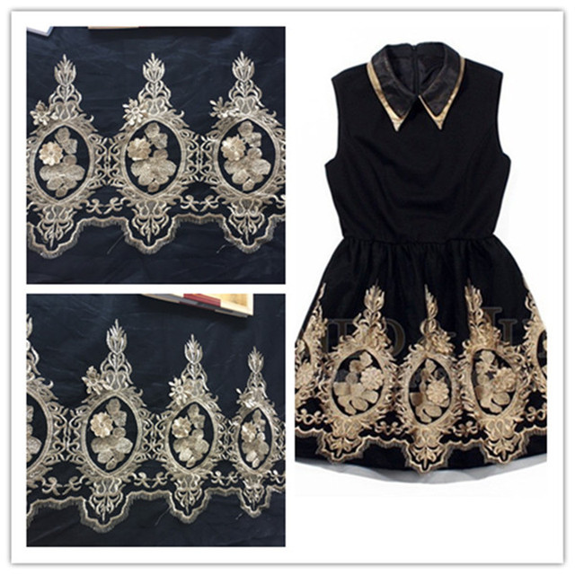 5Pcs Gold Ribbon Large Pineapple Applique Embroideried Fabric Black Gauze Patch Lace Skirt Clothes Accessories Handmade Diy Sew