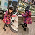 new children's clothing fall winter coat 2, 9 year old girl grid quilted jacket woolen cloth coat children with thick dust coat