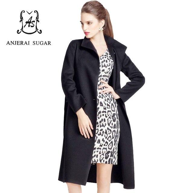 Women's winter jackets coats Black and Khaki wool manteau femme long maxi cashmere fur wool coat abrigos mujer invierno 2017
