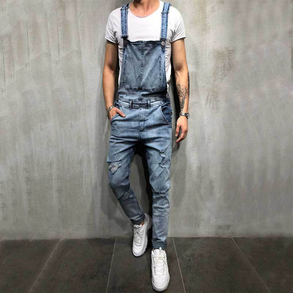 US Size Men Ripped Denim Jumpsuit Overalls Jean Casual Suspenders Pants Men Fashion Hip Hop Jumpsuit Jean Bib Pant Streetwear