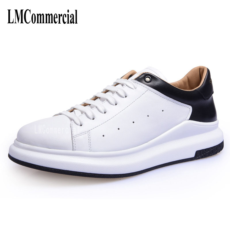 2017 spring summer new white men's shoe leather strap thick bottom tide male Korean sports shoes breathable men casual shoes 2017 new spring imported leather men s shoes white eather shoes breathable sneaker fashion men casual shoes