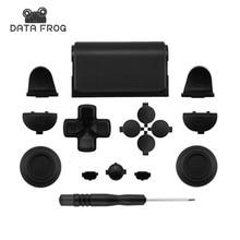 Negro completo juegos de piezas de botones para PlayStation 4 PS4 controlador para SONY controlador DUALSHOCK 4