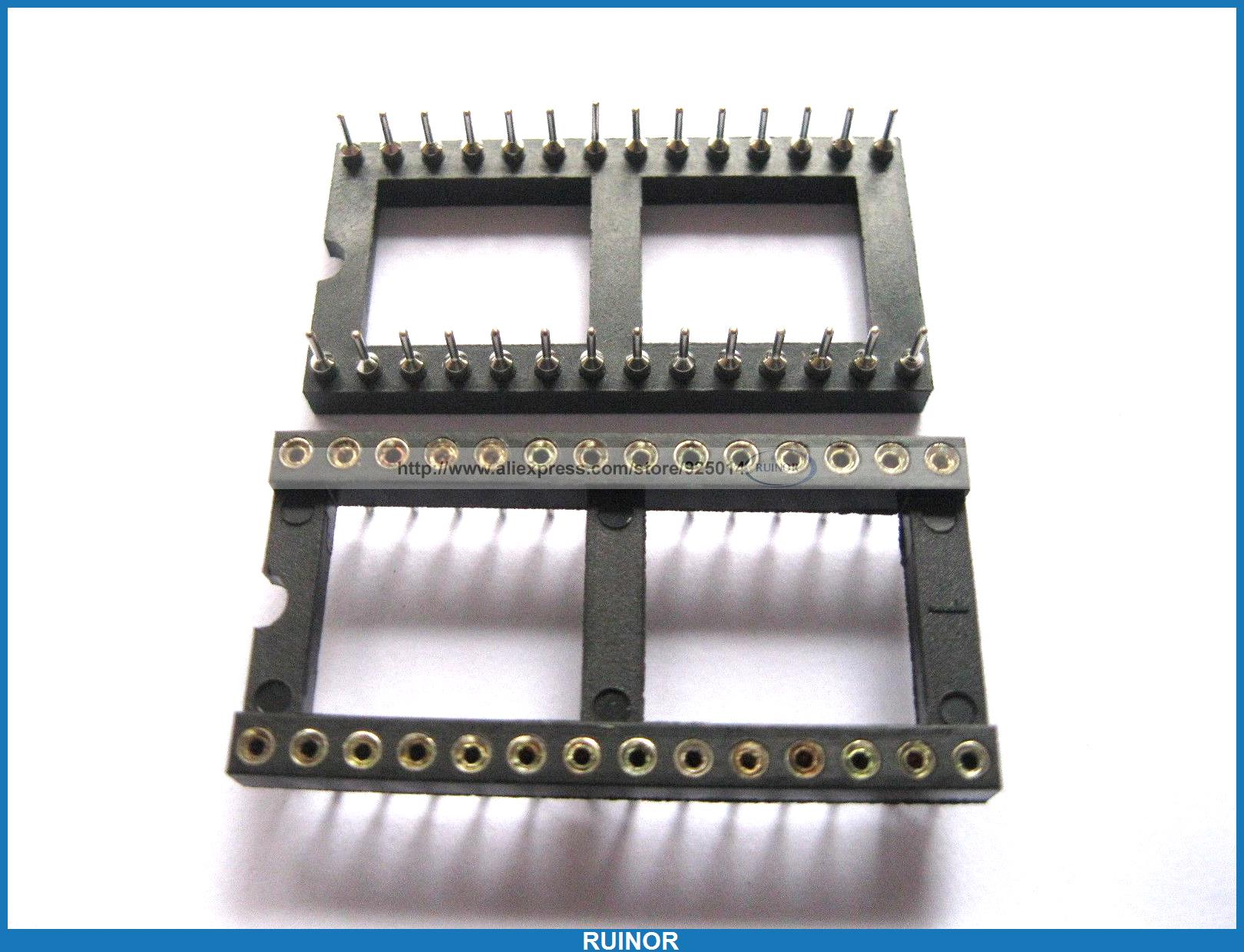 ФОТО 100 Pcs IC Socket Adapter Pitch 254mm 28 Pin Round DIP  x 15 24mm