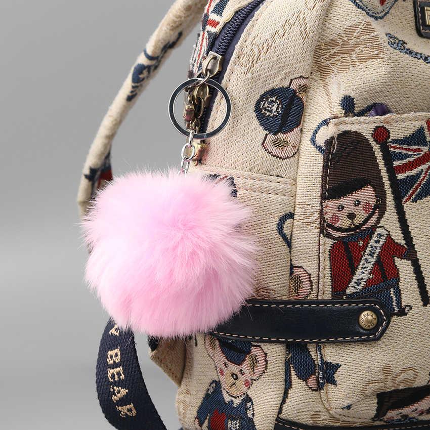 1PC Adorável Fluffy Bola De Pêlo Pompom Mulheres Keychain Chave Anéis Da Cadeia Pingente Bonito Hairball Artificial Carro Ornamentos Acessórios do Saco