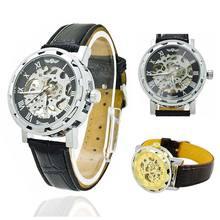 La moda de Nueva Hombres reloj Esquelético Mecánico Mecánico Caja de Acero Inoxidable Correa de LA PU Clásico Deporte Ejército Reloj LL