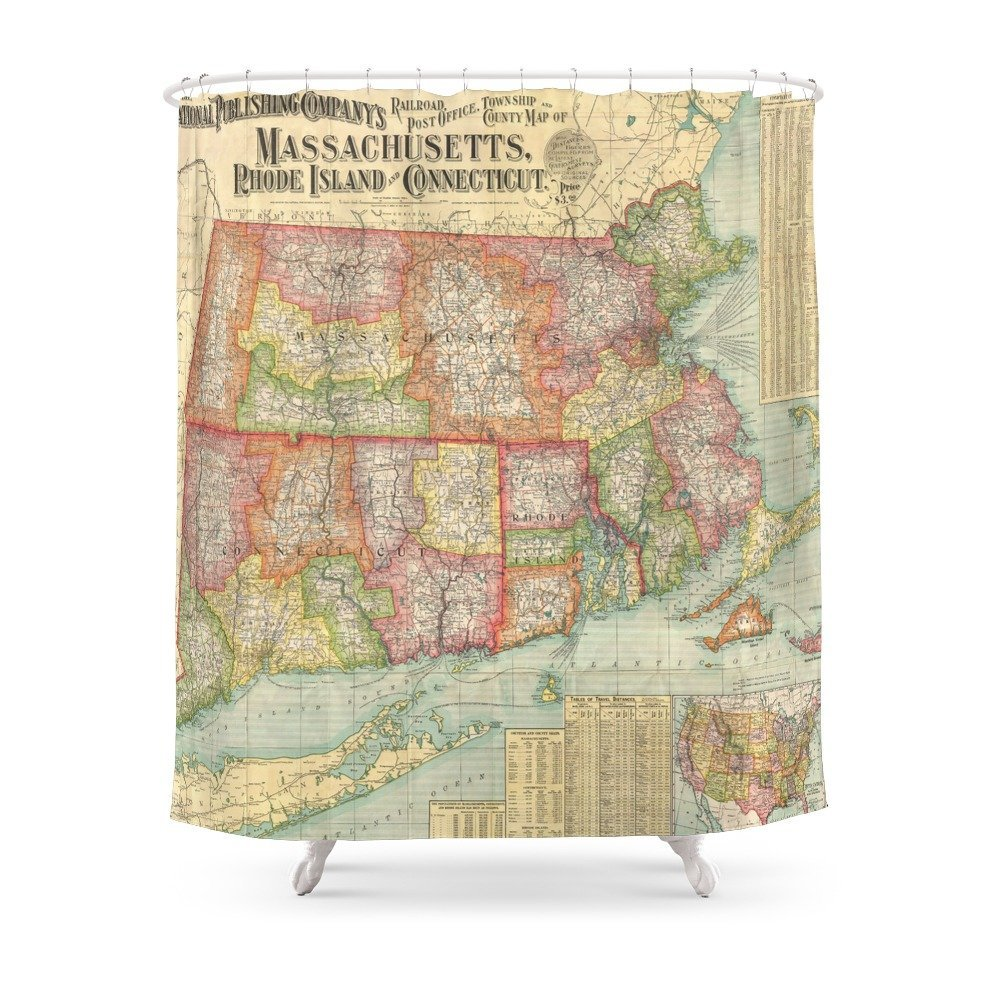 Vintage Map Of New England States (1900) Shower Curtain Waterproof Bathroom Polyester Fabric Bathroom Curtain