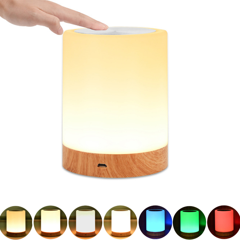 Jiaderui LED Bedside Table Lamps Portable Touch Lamp RGB Color USB Rechargeable Night Light Warm White Light Bedroom Living Room led night light 7 color changing touch switch bedroom bookcase beside lamp portable for bedroom living room or camping