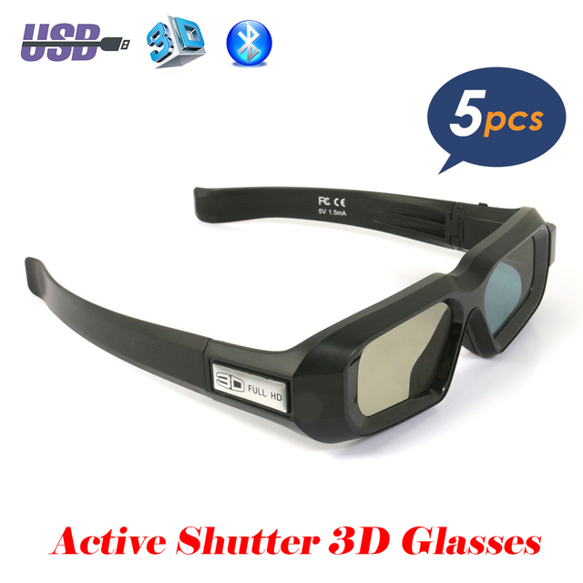 cd66fe0b2cf 5PCS USB Rechargeable Active Shutter 3D Glasses Bluetooth Infrared bril for  3LCD Epson projector Samsung Panasonic Sharp 3D TV