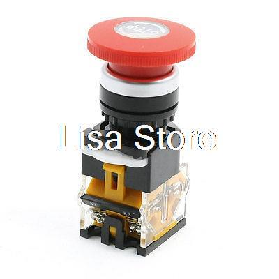 DPST NO NC Red Mushroom Latching Emergency Stop Push Button Switch 380V 10A 1pc new emergency stop push button switch self locking red mushroom switch 660v 10a