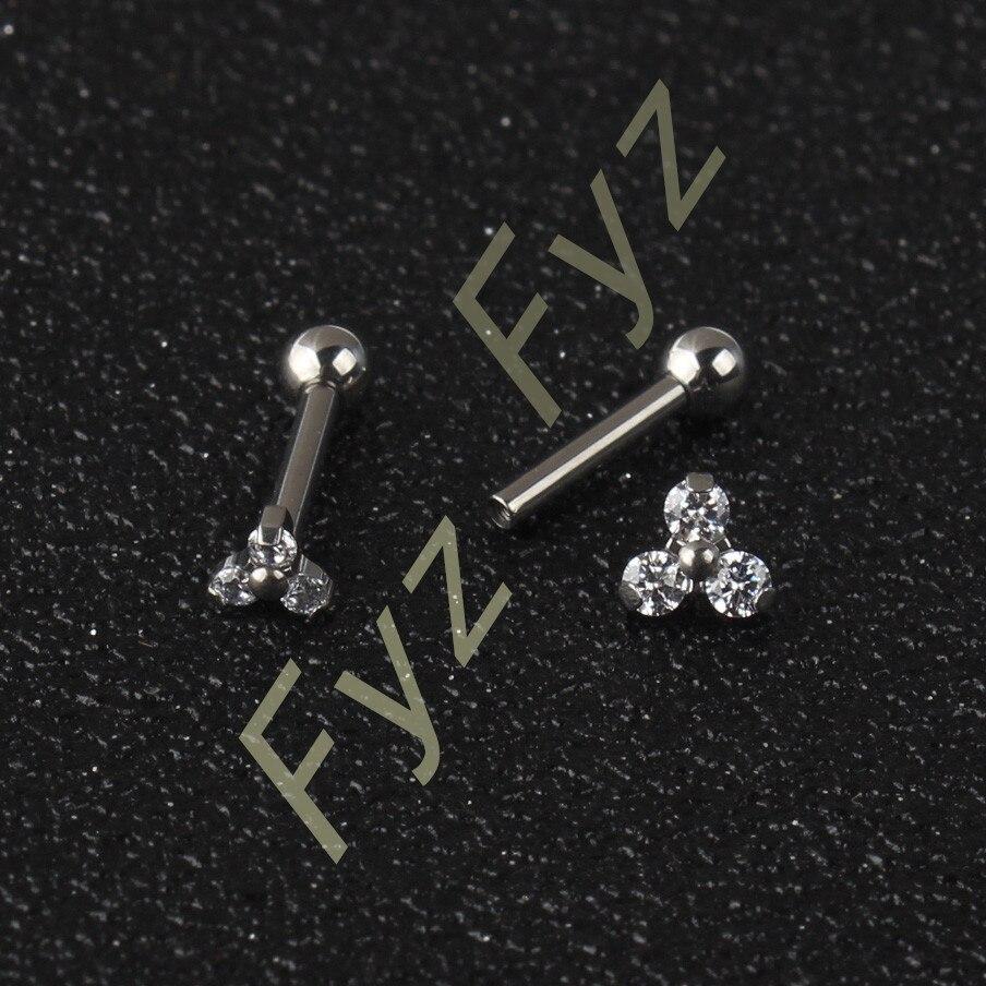 G23 de titanio 3 de circón de cristal de pétalos flor 16G rosca interna Barra de cartílago de la oreja hélice Tragus Stud Piercing en el labio de la joyería-in Joyería corporal from Joyería y accesorios    1