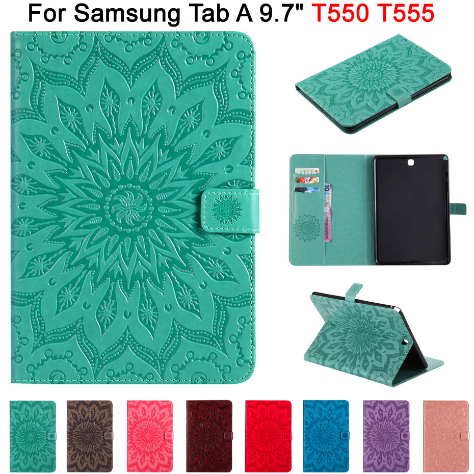 3D en relieve de girasol Funda para Samsung Galaxy Tab 9,7 pulgadas T550 T555 SM-T550 cubierta, Funda de Tablet PU cuero carcasa