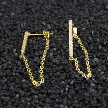 Long Chain Brincos Femme Gold Color Crystal Bar Stud Earrings For Women