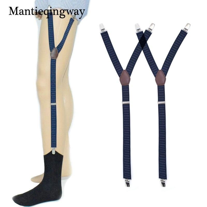 Mens Shirt Stays Garter Navy Blue Y-back Adjustable Elastic Straps Sock Suspenders Polka Dots Socks Garters Belts