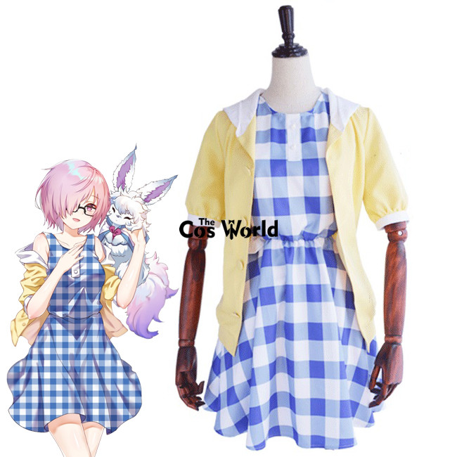FGO Fate Grand Order Matthew Kyrielite Mash Kyrielight Hoodie Coat Sleeveless Dress Outfit Anime Cosplay Costumes pleated high waist a line skater skirt