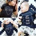 Irmão de 2016 Crianças Novas Do Bebê Das Meninas Dos Meninos Verão de Manga Curta T-shirt de Algodão T Tops Roupas
