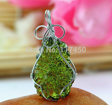 Hot Sale A++ Natural Moldavite green aerolites crystal stone pendant energy apotropaic7g-8g/ lot+ free rope Unique Necklace