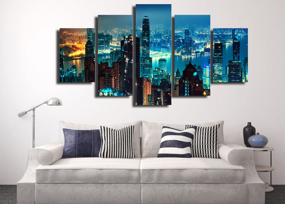 5 Piece HD Printed New York City Skyscrapers Framed Wall Picture Art Poster Painting On Canvas For Living Room Quadro Decorativo