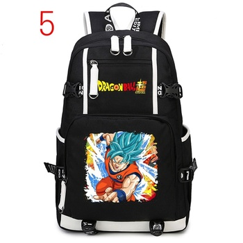 Mochila escolar de Anime Dragon Ball Z, mochila negra de Super Saiyan Goku, mochila de viaje para exteriores, mochila para portátil para adolescentes